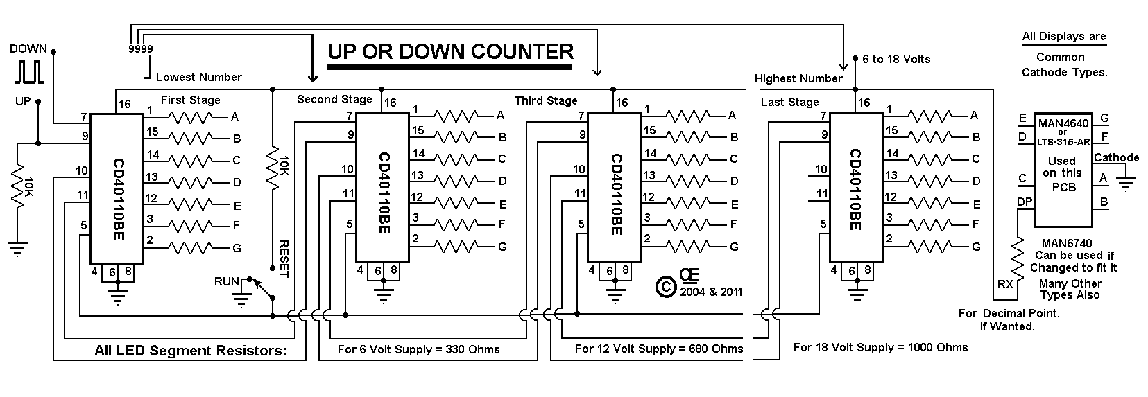Counter Circuit Cd40110be Web About Wiring Diagram 7 Segment A Digital Up Down Rh Chemelec Com Display Schematic