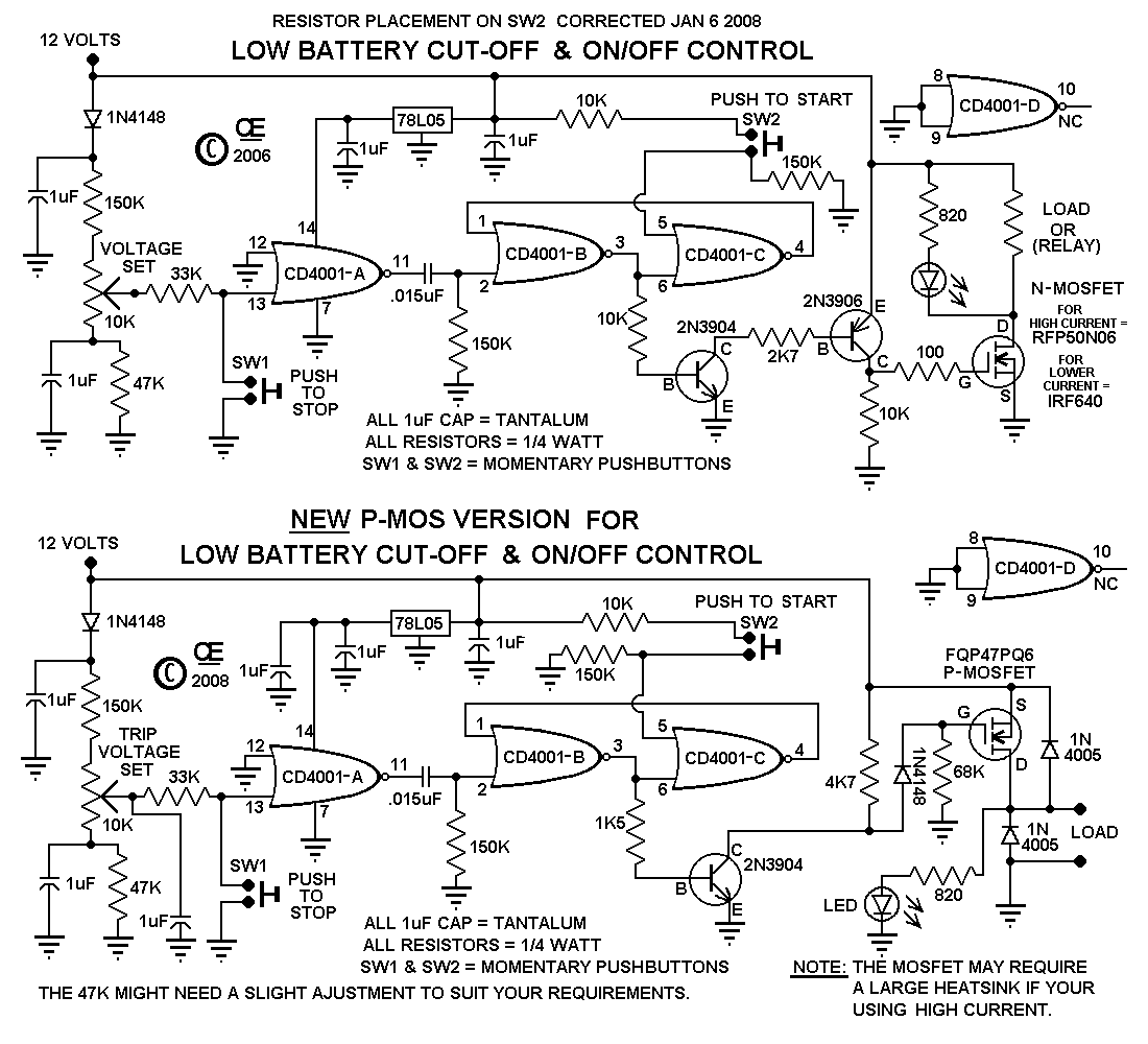 A Low Battery CutOff Circuit - 12 volt on off relay
