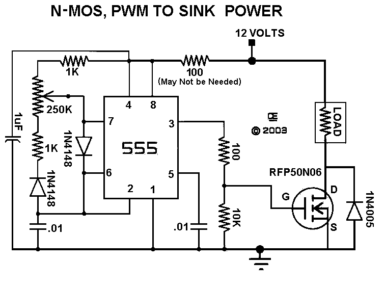a pulse width modulation control the schematic for version 1 an n mosfet