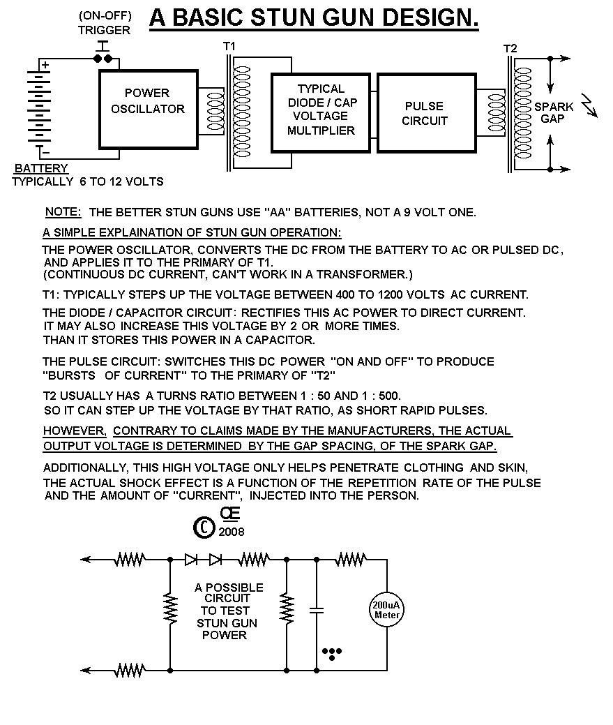 High Voltage Stun Gun Electronic Circuit Diagram