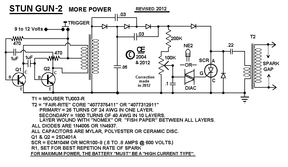 "More Power"" Stun-gun Schematic, 2."