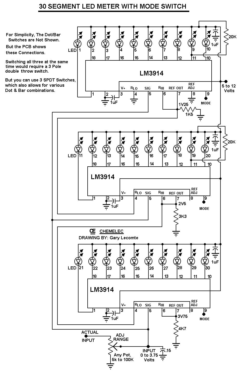 20 Segment Led Vu Meter Schematic Block And Diagrams Lm3915 Circuit 30 Voltmeters Digital